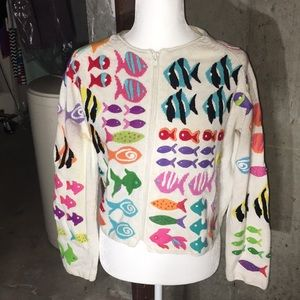 Michael Simon Fish Sweater Size Small